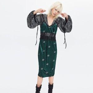 NWT Zara M Velvet Embroidery Strappy Midi Dress